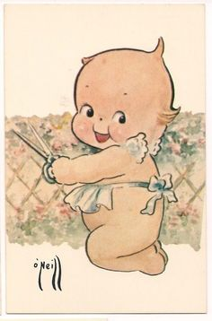 Rose O'Neill - unused - Kewpie trims a hedge - Vintage Greeting Cards, Vintage Postcards, Paper Dolls, Art Dolls, Doll Drawing, Baby Illustration, Bisque Doll, Vintage Pictures, Vintage Children