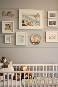 Life in Bridgetown: Baby E's Completed Nursery (I love how the wood paneling looks painted grey)
