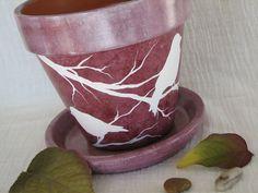 clay plant pots | Decorative Flower Pot - Painted Clay Planter - Bird art - Terra Cotta ...