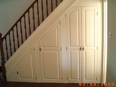 alcove under the stairs - Bing Images I like idea of doors rather than pull-out drawers Open Basement Stairs, Stairs In Kitchen, Loft Stairs, Cabinet Under Stairs, Hallway Cupboards, Cupboard Doors, Stairway Storage, Tile Stairs, Cupboard Design