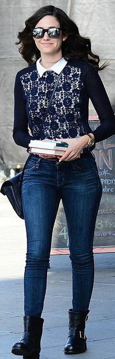 Who made Emmy Rossum's blue lace collar sweater?