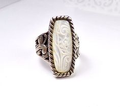 RELIOS CAROLYN POLLACK Sterling Silver 925 Mother of Pearl QVC Size 9 Ring #ReliosCarolynPollack #Cocktail #AmericanWest #SincerelySouthwest