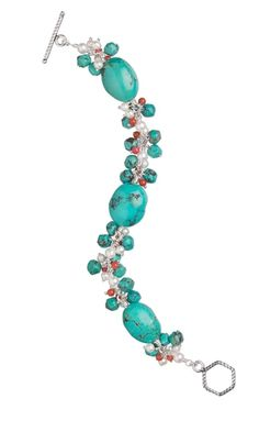 Bracelet with Turquoise Gemstone Beads, Red Coral Gemstone Beads and Cultured Freshwater Pearls