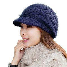 RRiody Girl s Women Winter Warm Knit Thicken Beret Hat Wool Snow Ski Caps  with Visor f56f623288dc
