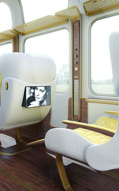 UK based designer Christopher Jenner revamped the Eurostar with his inspired rendition of an elegant train car. Images credit: Christopher Jenner According to… Car Interior Design, Interior Exterior, Home Interior, Futuristic Interior, Futuristic Furniture, Futuristic City, Futuristic Design, Design Transport, Transportation Design