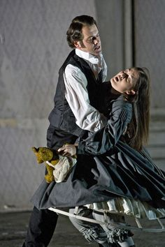 Lucia di Lammermoor Mark Stone as Enrico and Anna Christy as Lucia in the English National Opera production.  Photo Credit: Clive Barda © 2008