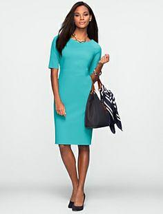 Talbots - Elbow-Sleeve Ponte Dress | Dresses | Misses