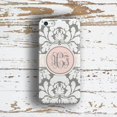 Floral Iphone 6 case, Damask Iphone 5 case, Womens Iphone 5c case, Elegant iPhone 4 case, Summer to fall fashion, Gray light pink (1416P) by ToGildTheLily on Etsy