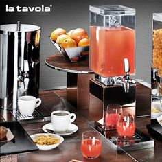 Cold Juice Beverage DIspenser and Insulated Hot Beverage Urn from our Wonderbuffet Freestanding Collection