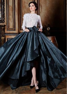 Buy discount Stunning Lace & Taffeta Bateau Neckline Long Sleeves Ball Gown Evening Dresses With Handmade Flowers & Beadings at Dressilyme.com