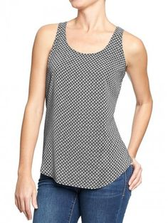 145a86dde62f5 Old Navy Women's Printed Poplin Crepe Tank Black Dots | Top and Clothing  Old Navy Women