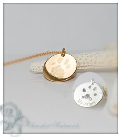 Your pets actual paw or nose print in 14k gold fill or .925 sterling silver -  dog or cat memorial pendant necklace - double sided