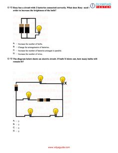 Electricity & Circuits - Worksheet 10  Download this Class 6
