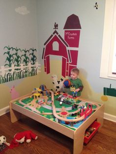 Adorable farm themed wall mural! Wall art by My Wonderful Walls. http://www.mywonderfulwalls.com/