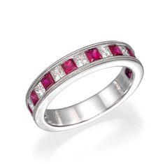 Princess Cut Ruby and Diamond Wedding Ring   18K White Gold Wedding Band