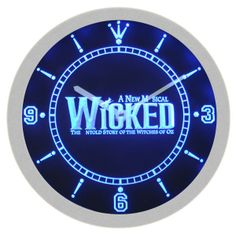 Wicked The Musical Music Neon Sign Bar Wall Clock