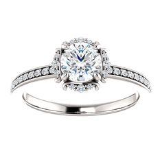 14kt White Gold 5.5mm Center Round Genuine Diamond (Color G-H, Clarity I3) or 12 Halo Diamonds  (Color I-J Clarity I1) and 26 Accent Diamonds  (Color I-J Clarity I1) Engagement Ring...(ST122221:318:P).! Price: $1299.99