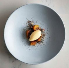Kunzea ice cream • golden beets • wild thyme honey • compressed snowberries • dusted koji