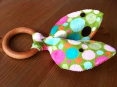Wooden Teether Crinkle Sensory Toy with Orange Cotton and Polka Dot Minky