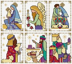 Six Nativity cards that are simple to stitch on 14 count Aida or 28 count evenweave. Cross Stitch Christmas Cards, Xmas Cross Stitch, Cross Stitch Pillow, Cross Stitch Cards, Cross Stitch Kits, Cross Stitch Designs, Cross Stitching, Cross Stitch Embroidery, Embroidery Patterns