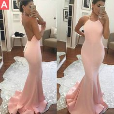$126.99 Pink Halter Backless Sweep Train Mermaid Prom Dresses 2017 ($127) ❤ liked on Polyvore featuring dresses, halter prom dresses, cocktail prom dress, halter neck prom dress, pink dress and brown dresses