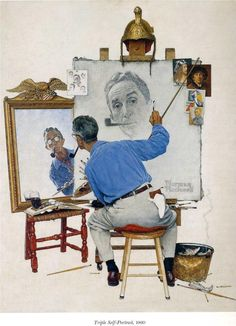 "Norman Rockwell:  ""Self Portrait""- he is one of my faves. I remember seeing his show at Riverside when I was in Elementary school!"