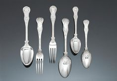 A Victorian silver Dolphin pattern part table service of flatware, by George Adams / Mary Chawner, London 1834 - 1879,