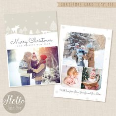 Christmas card template: Woodland  Creating impressive Christmas cards has never been easier with this stunning Holiday card templates set featuring a