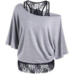 Skew Collar Lace Trim T Shirt ($15) ❤ liked on Polyvore featuring tops, t-shirts, shirts, collar t shirt, collared shirt, lace trim top, lace trim shirt and tee-shirt