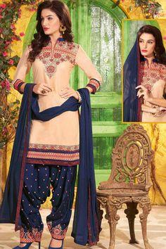 Cream & Navy Unstitch Cotton Patiala Suit