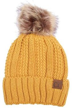662fdeac0b0 Mustard CC Beanie Hat with Warm Lining and Fur Pom Pom