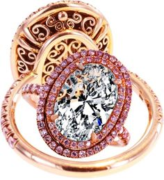 Oval Diamond Engagement Ring Double Halo Pink Diamonds in Rose Gold
