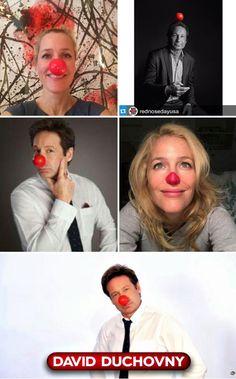 Gillian Anderson and david duchovny #RedNoseDay