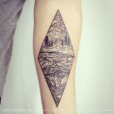 Mountains and rivers tattoo by Lisa Orth