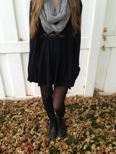 black dress and boots for fall