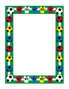This soccer border includes several soccer balls in white, red, yellow, and…
