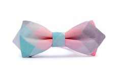 PASTEL PIXEL diamond shape, unique bow tie. Organic, certificated cotton!