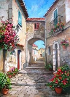 Visual result of Francesco Mangialardi - ART Watercolor Painting Watercolor Architecture, Watercolor Landscape, Landscape Art, Landscape Paintings, Watercolor Paintings, Beautiful Paintings, Beautiful Landscapes, Italy Painting, Art Drawings Sketches