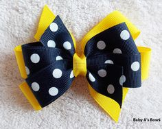 Sunshine Yellow and Navy Blue Polka Dot Double Layer Pinwheel Bow by BabyABows on Etsy https://www.etsy.com/listing/179949407/sunshine-yellow-and-navy-blue-polka-dot