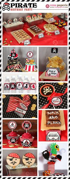 Red Pirate Birthday Party Package Personalized FULL Collection Set - PRINTABLE DIY, pirate first birthday, pirate party decorations, pirate party supplies Pirate Birthday, Pirate Theme, Boy Birthday, Pirate Food, Birthday Ideas, 4th Birthday Parties, Diy Party, Party Ideas, Baby Shower