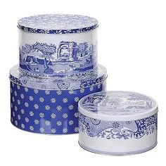 #Pimpernel #classic blue italian set of 3 deep cake #biscuit storage tins gift ne,  View more on the LINK: 	http://www.zeppy.io/product/gb/2/191367371838/