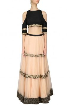Chhavvi Aggarwal Black Cut Out Crop Top and Zardozi Embroidered Lehenga Skirt #happyshopping #shopnow #ppus