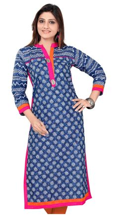 Blue Cotton Printed Kurti with attractive collar and neck design
