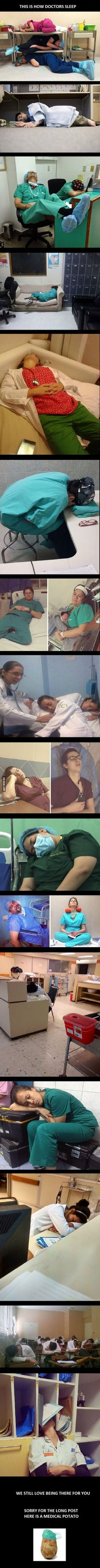 """Do we all notice how this is NOT followed by """"and this is how nurses sleep""""???? Because why? Because NURSES DONT SLEEP!!!"""