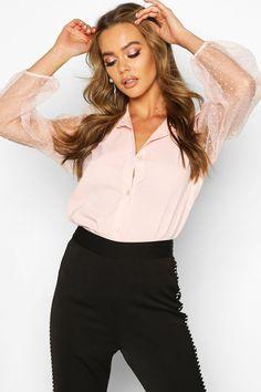 Womens Organza Spot Mesh Sleeve Shirt - Pink - S Slogan Making, Latest Tops, Skirt Suit, Looking For Women, Shirt Sleeves, Boohoo, Off The Shoulder, Women Wear, Shirts