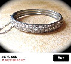 Vintage Art Deco Pave Rhinestone Bangle Bracelet Bracelet