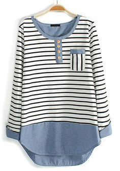 White Striped Print Long Sleeve Cotton Blend Blouse