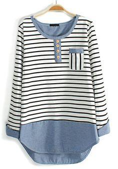 White Striped Print Long Sleeve Cotton Blend Blouse