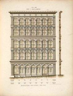 Design for a cast iron commerical building, Boston