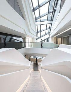 At Hong Kong Polytechnic University, Zaha Hadid Architects applied its trademark dynamism to a new center in the institution's School of Design and Jockey Club Design Institute for Social Innovation